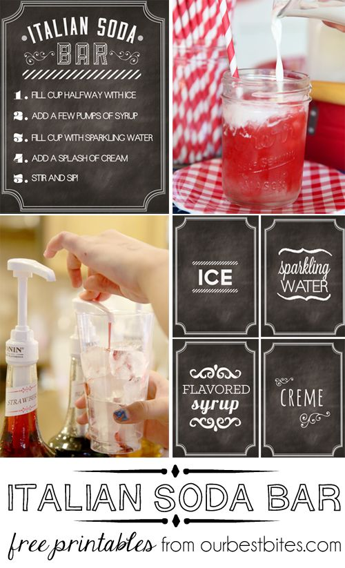 Free Printables to host your own Italian Soda Bar.  Perfect for parties (my go-to for baby and wedding showers!)  Get the free download, along with a how-to, at ourbestbites.com
