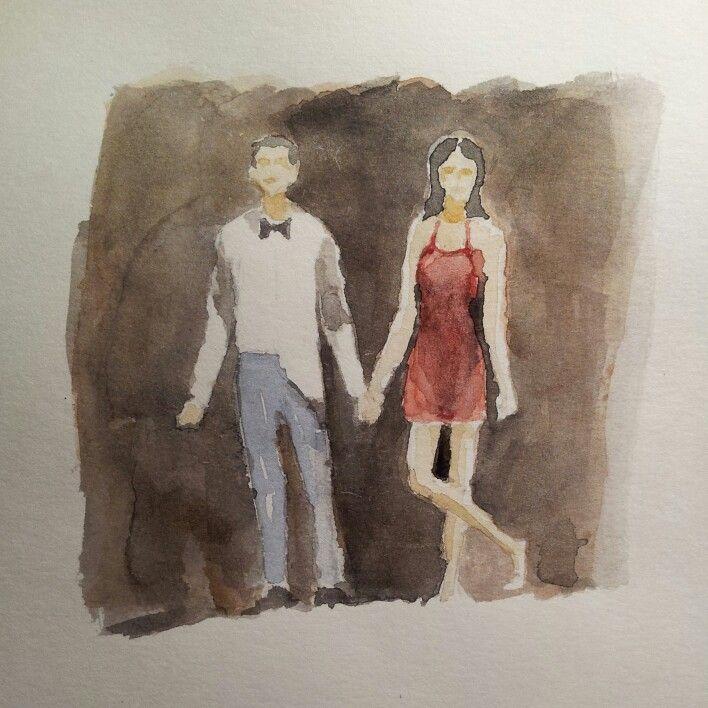 Lui e lei. Lovers #artwork #watercolor #acquerello #acquerelli #watercolours #mywatercolors #mywatercolor
