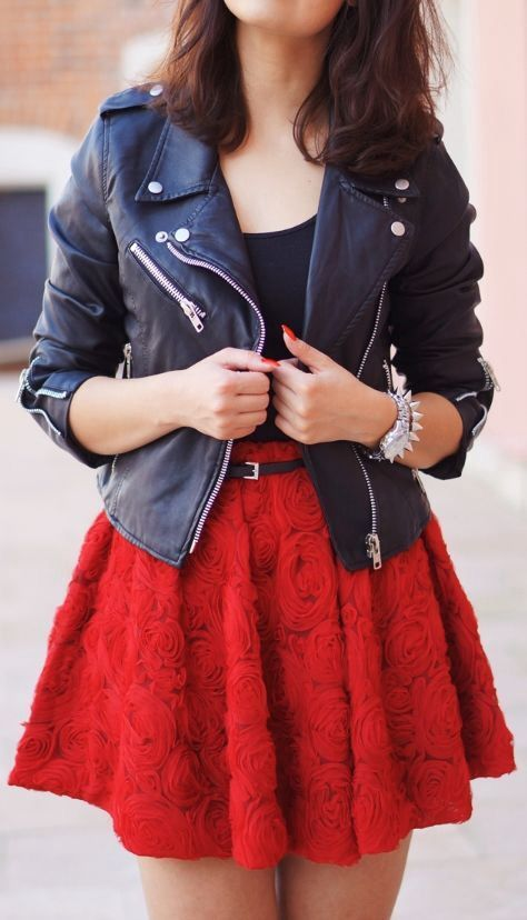 Bright red rose skirt flower skirt