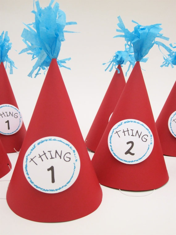 Dr. Seuss Thing 1 Thing 2 #party hats!