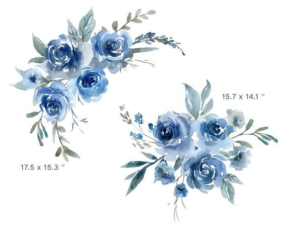 Blue Watercolor Flowers Clipart Wedding Roses Watercolour Floral Clip Art Indigo Navy Sapphire Bouquets Arrangements Free Commercial Use Png In 2021 Blue Flower Tattoos Watercolor Flowers Blue Flower Painting