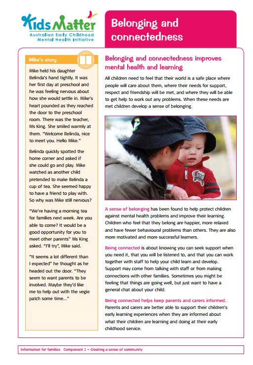 Top tips: Belonging and connectedness. Information sheets for families and ECEC staff