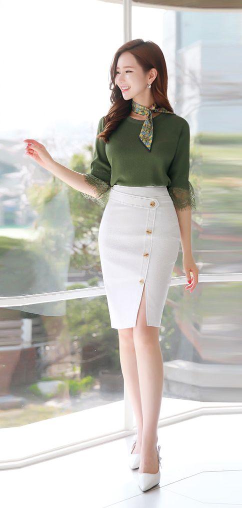 Slim Fit Button Decoration Front Slit Pencil Skirt - Styleonme