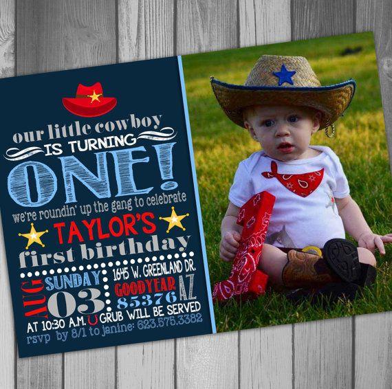 Cowboy Birthday Invitation Western Birthday Boy by CLaceyDesign