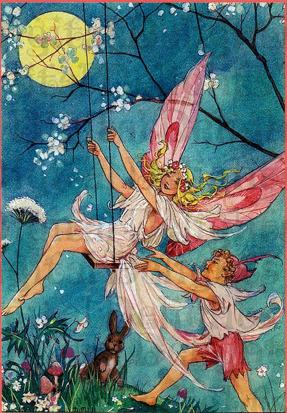 FAIRY Swing. Vintage Fairy Illustration. by DandDDigitalDelights, $1.99