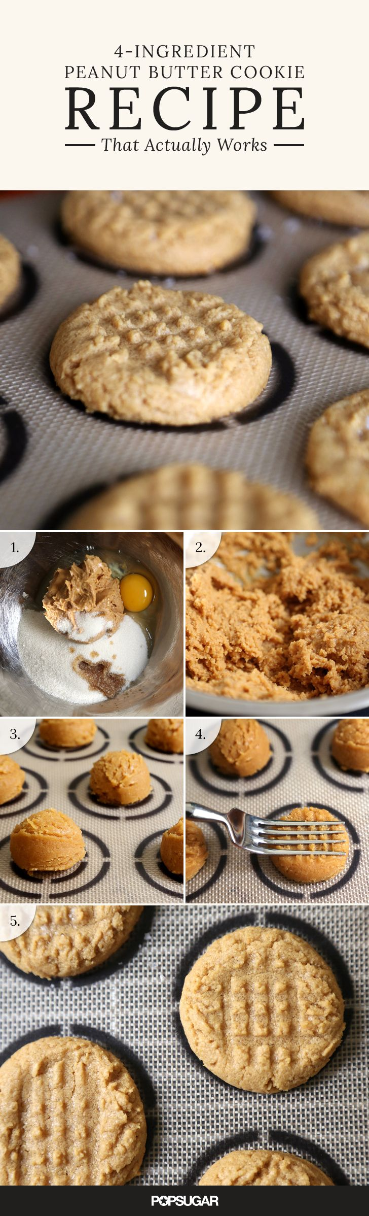 Unlike other fussier cookie recipes, all the ingredients are dumped and mixed together, and due to the high fat content in the peanut butter, the dough balls can be shaped in a hot second without sticking to your fingers. Get the easy recipe here!