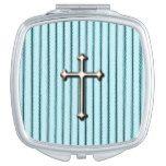 Farmhouse-Faith-Mattress-Ticking-Blue Makeup Mirror #weddinginspiration #wedding #weddinginvitions #weddingideas #bride
