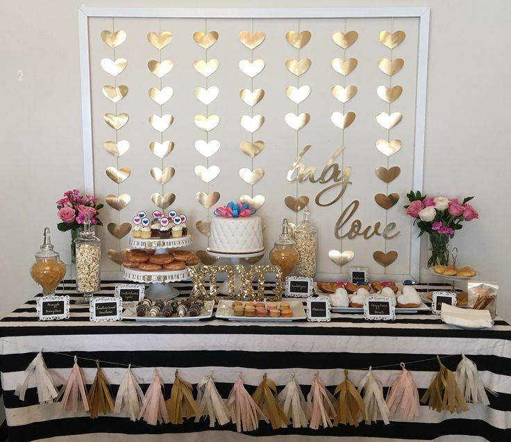 Prettiest baby shower. Baby love theme. Hearts and black white gold theme