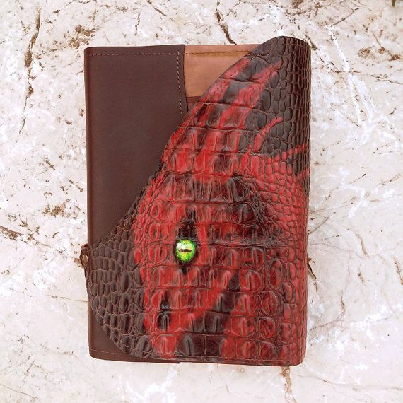 Dragon leather book cover, red dragon genuine leather brown book cover, patchwork renaissance book cover, fantasy book cover, medieval