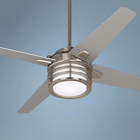 Intriguing and eye-catching, this ceiling fan features an integrated LED light and silver finish blades