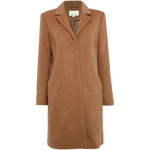 Linea Revere collar coat (£189) ❤ liked on Polyvore featuring outerwear, coats, camel, women, brown coat, knee length coat, long sleeve coat, camel coat and collar coat