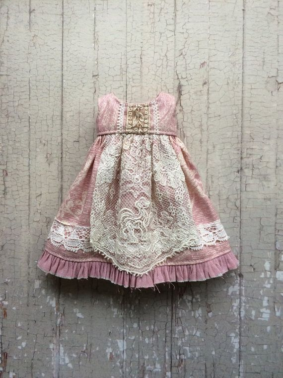 Apron dress for Blythe Dusty pink by moshimoshistudio on Etsy