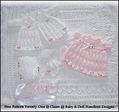 "FREE Flowers and Lace 13-18"" doll-free knitting pattern"