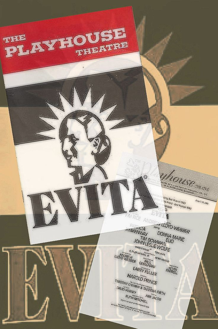 """Wilmington, Delaware premiere of """"Evita"""" ... 3rd National Tour  ... June 7 - 18, 1983 ... Sets, Costumes, and Production Designed by Timothy O'Brien and Tazeena Firth ... Music by Andrew Lloyd Webber ... Lyrics by Tim Rice."""