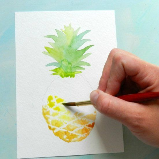 Paint a watercolor pineapple with this free tutorial and for Easy watercolor tutorial
