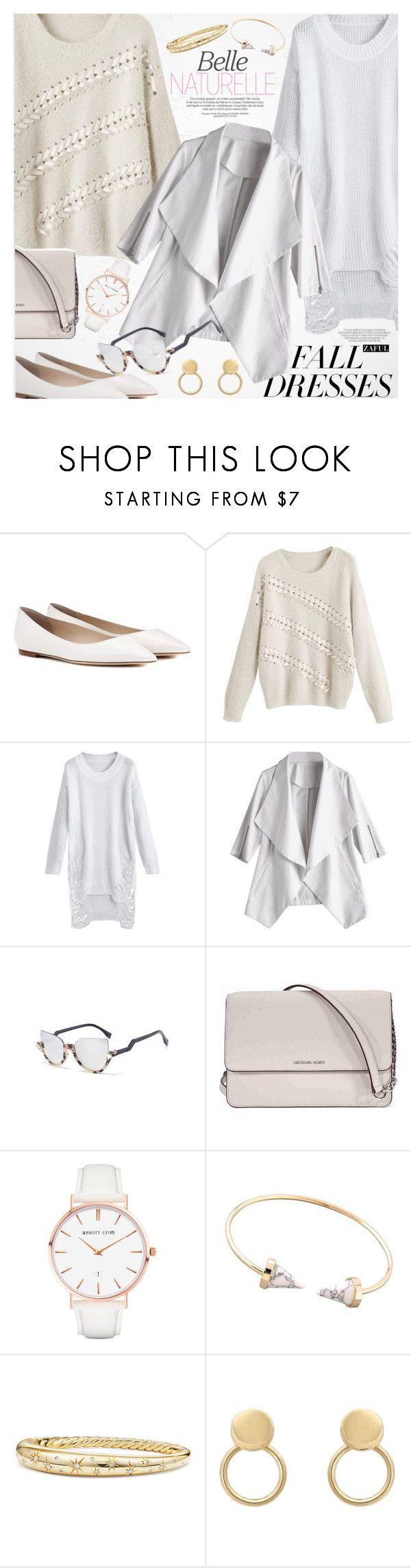 """""""Fall Fashion: Dresses"""" by vanjazivadinovic ❤ liked on Polyvore featuring Jimmy Choo, Michael Kors, Abbott Lyon, David Yurman, polyvoreeditorial, falldress and zaful"""