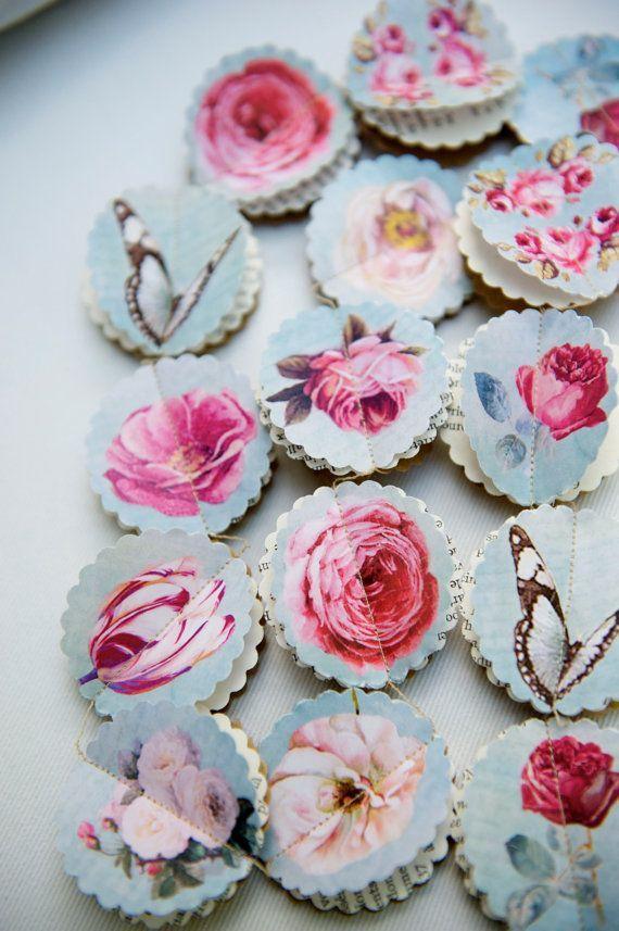 3D Heart Garland Flower Banner Blue Rose Paper Hearts Garland Floral Mobile for Wedding Party Gift Bridal Shower Rustic Decoration