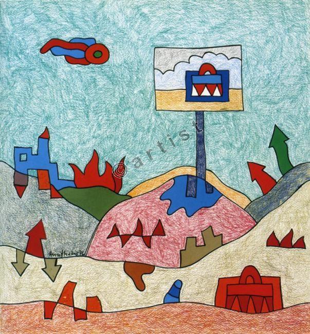 Αλέξης Ακριθάκης, Δυο βαλίτσες, 1972, τέμπερα, χρωματιστά κραγιόνια, 36 x 33 εκ.