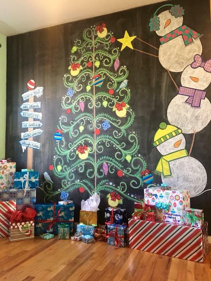 Christmas Chalkwall Snowman Christmas Tree Christmas Tree With Presents Christmas Snowman