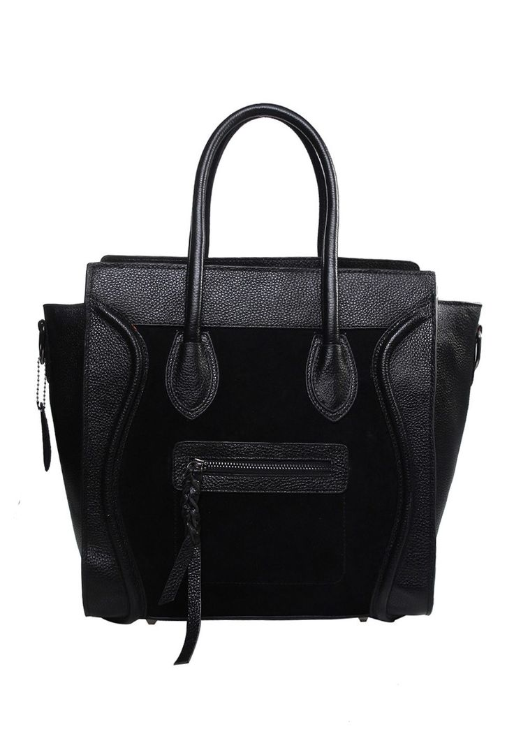 Vanessa Leather Tote Black With Suede