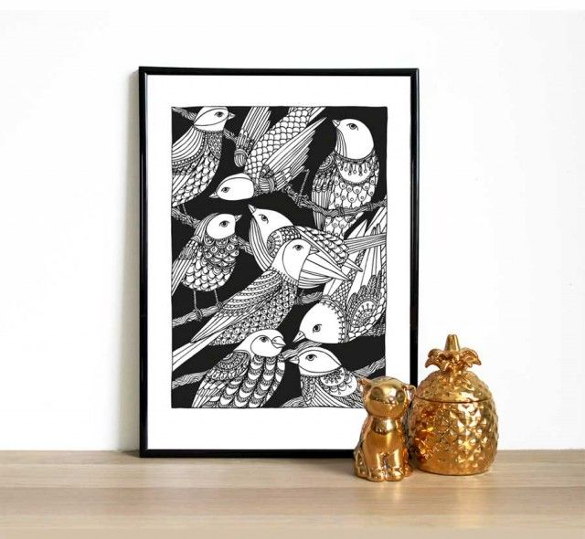 Crowded, a poster by Hanna Karlzon! #nordicdesigncollective #hannakarlzon #crow #crowded #poster #print #black #white #illustration #drawing #sketch #bird #birds #birdy #blackbird #pattern #feather #reproduction #pineapple #fram #posterwall #art #gold #golden #cat #figure