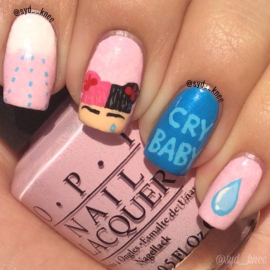 ❤Kawaii Love❤ ~ Melanie Martinez cry baby Nail art Pornography