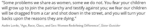 """Audre Lorde, """"Age, Race, Class, and Sex: Women Redefining Difference"""", Sister Outsider"""