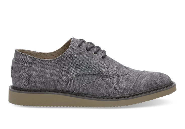 undefined Black Slub Chambray Men's Brogues
