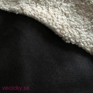 Brúsená umelá koža s fleecom - čierna