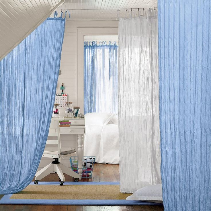 Gorgeous Accessories For Living Room And Home Interior Decoration Using Hanging Fabric Room Dividers : Heavenly Image Of Accessories For Bedroom Decoration Using Light Blue And White Curtain Hanging Fabric Room Dividers Including Wheel White Wood Office Chair And White Wooden Study Computer Desk