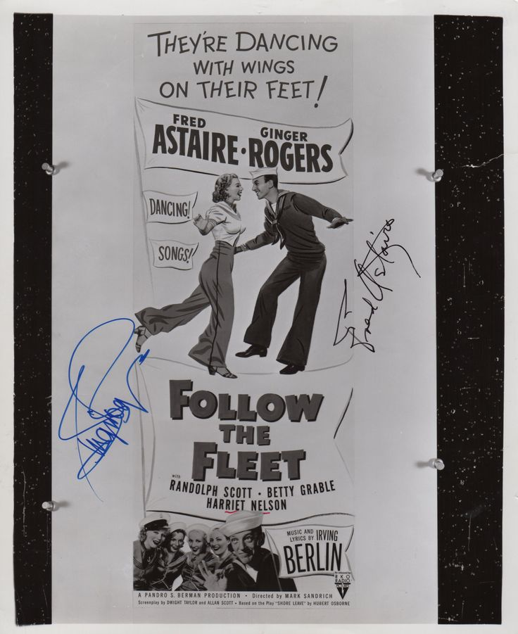 ASTAIRE FRED (1899-1987) American Actor & Dancer & ROGERS GINGER (1911-1995) American Actress & Dancer, both Academy Award winners. Signed 10 x 8 photograph by both Fred Astaire (Bake Baker) and Ginger Rogers (Sherry Martin) individually, the image depicting a theatrical poster, pinned to a notice board, advertising the musical film Follow the Fleet (1936). Signed in blue and black inks with their names alone to clear areas of the image.
