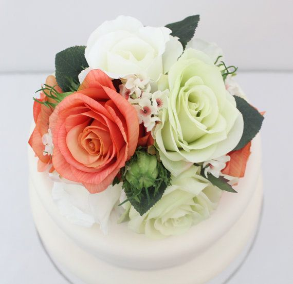 Silk Flower Wedding Cake Toppers: Wedding Cake Topper Coral Light Green And White Rose Silk