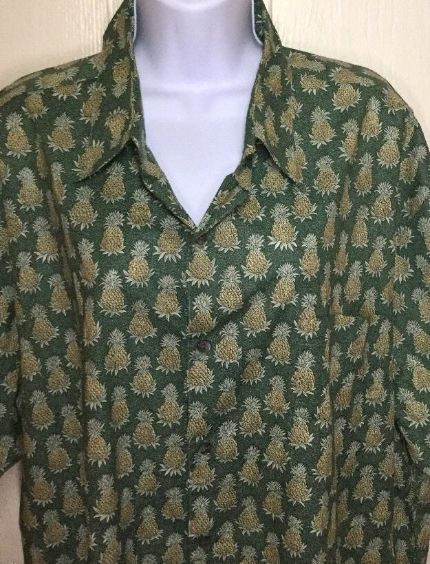 Tori Richard Hawaiian Aloha Camp Shirt Mens XL Pineapples Green Short Sleeve GUC #ToriRichard #Hawaiian