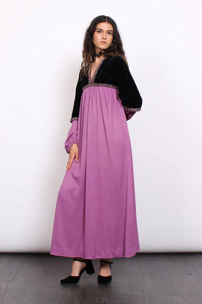 Vintage 60s Quad Velvet Braid Medieval Maxi Dress