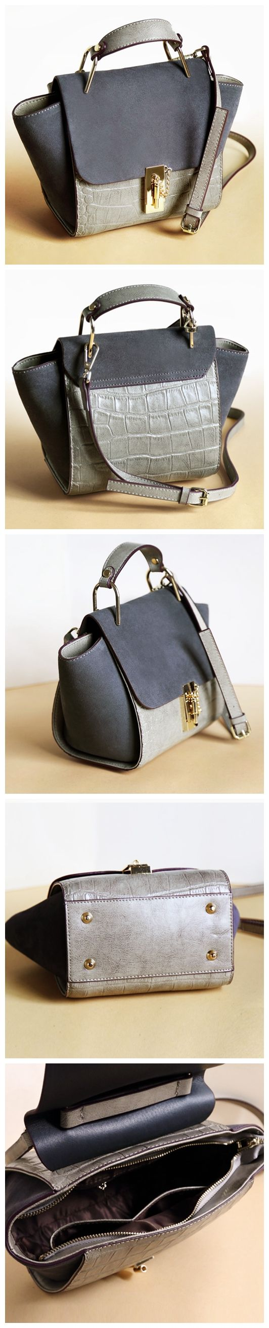 Women Fashion Modern Genuine Leather Bag Shoulder Bag Handbag Messenger Bag AM01 Overview: Design: Women Fashion Handbag In Stock: 3-5 days For Making Include: Only Handbag Color: Gray Leather: Cow Le