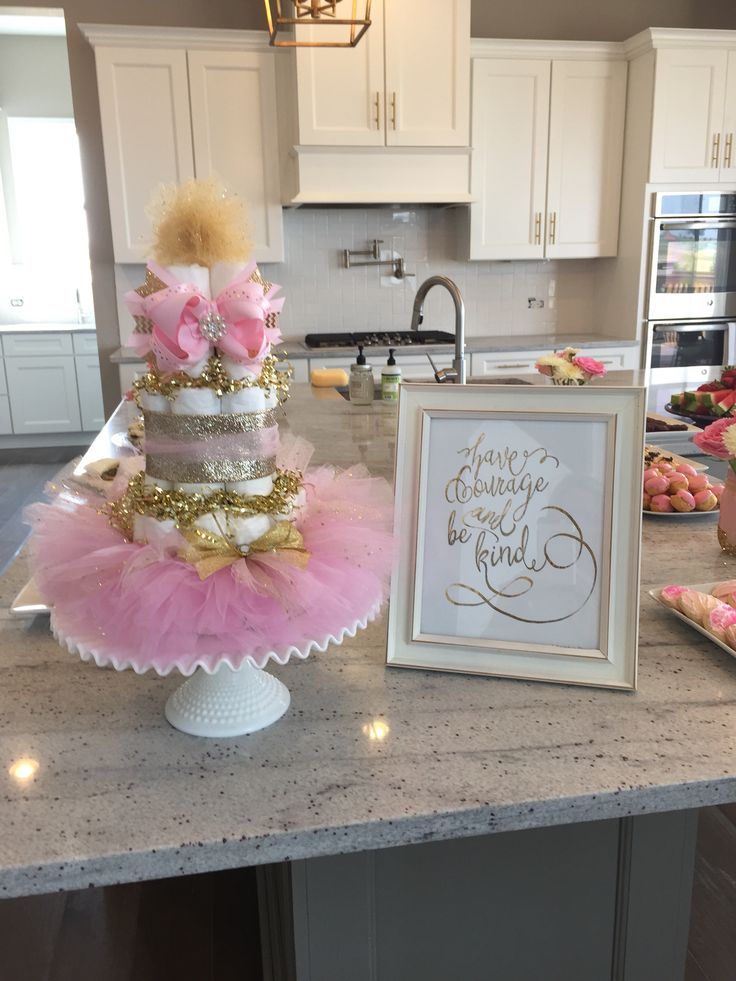 Elly 39 S Pink And Gold Ballerina Diaper Cake Baby Shower Pinterest Ballerina Diapers And Cake