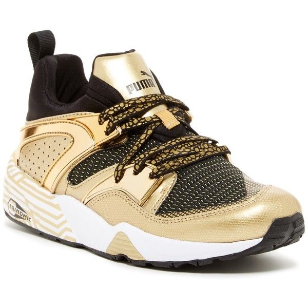PUMA Blaze Of Glory Metallic Sneaker ($75) ❤ liked on Polyvore featuring shoes, sneakers, black, kohl shoes, metallic sneakers, laced sneakers, black trainers and vegan sneakers