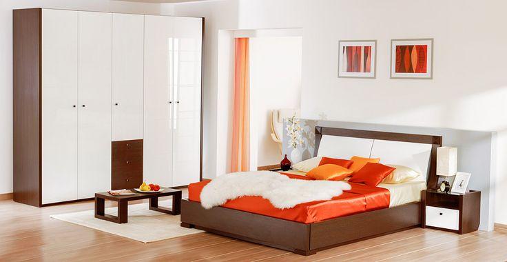 Спальня в цвете венге с белыми глянцевыми вставками | Дизайн интерьера современной спальни  #астрон #мебель #astron #спальни