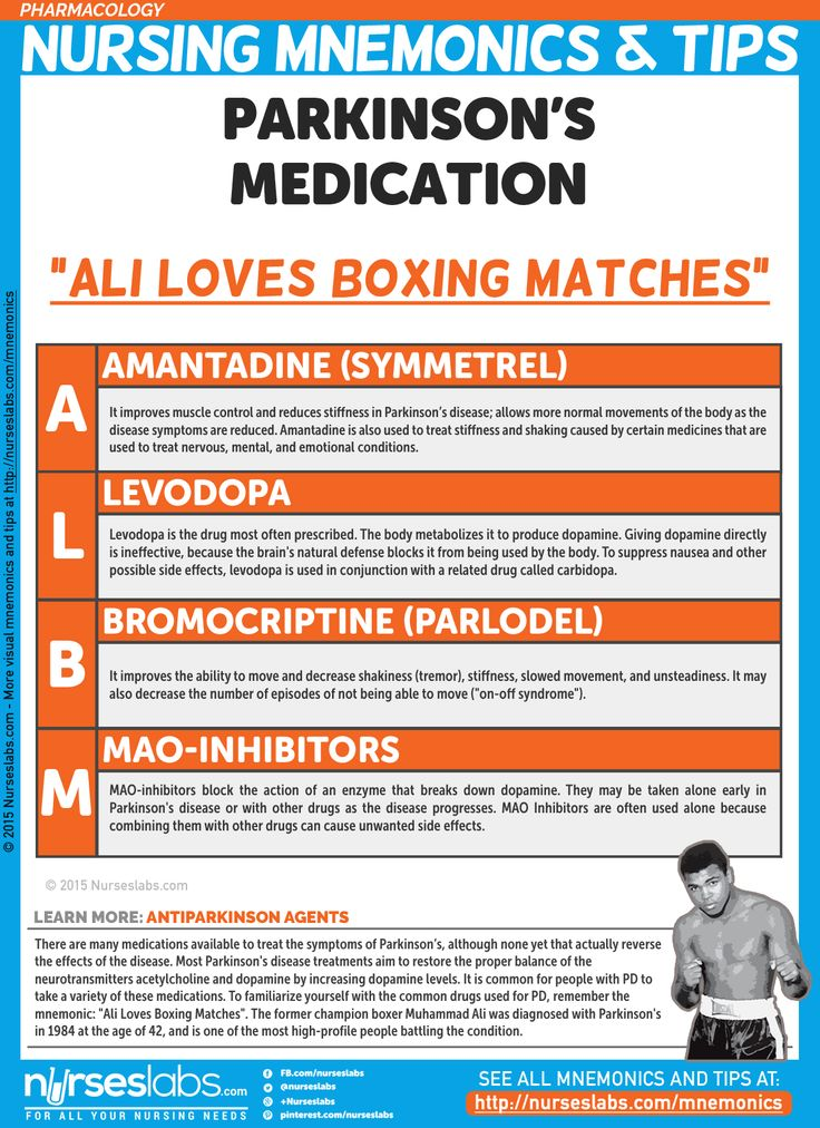 "Parkinson's Medications: ""ALBM"" Pharmacology Nursing Mnemonics and Tips: http://nurseslabs.com/pharmacology-nursing-mnemonics-tips/"