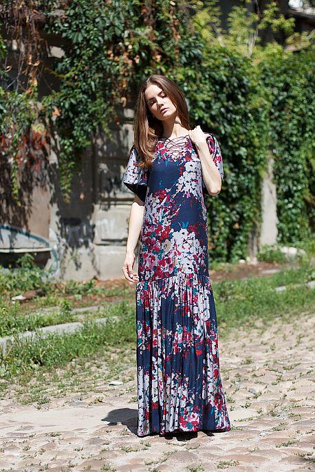 Платье в пол в стиле бохо из батист-шелка