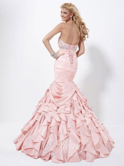 Tiffany Dress 16733 at Peaches Boutique long pink (quartz) mermaid prom dress with silver accents
