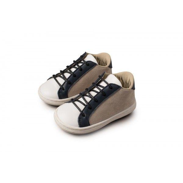 d31cf7d0a56 Βαπτιστικά παπούτσια αγόρι Babywalker δέρμα-ύφασμα σε μπεζ/λευκή/μπλε  απόχρωση, Παπουτσάκια