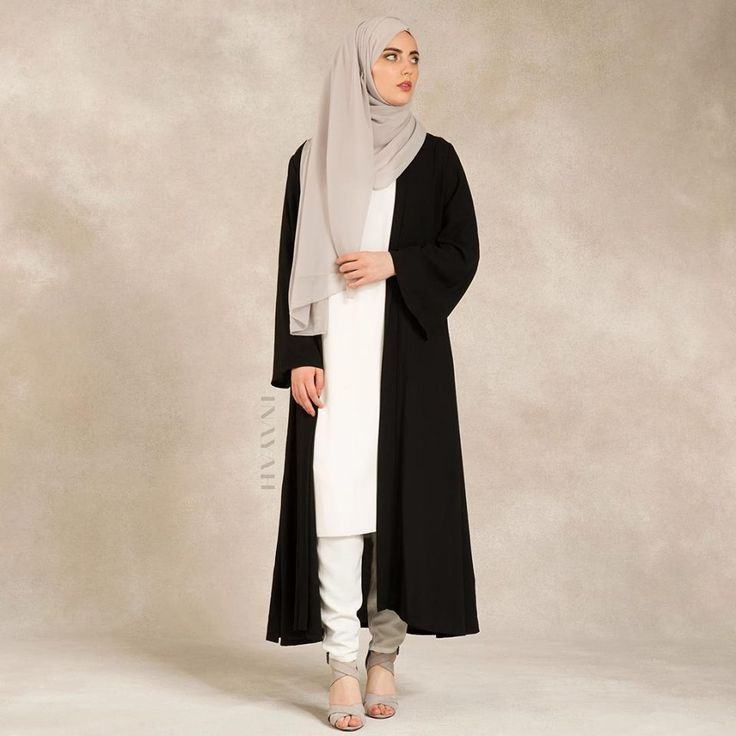 INAYAH | Black Georgette #Kimono + White Crepe #Midi + White Tapered #Trousers + Light Feather Grey #Hijab #inayahclothing #modeststyle #modesty #modestfashion #hijabfashion #hijabi #hijabifashion #covered #Hijab #jacket #midi #dress #dresses #islamicfashion #modestfashion #modesty #modeststreestfashion #hijabfashion #modeststreetstyle #modestclothing #modestwear #ootd #cardigan #springfashion #INAYAH #covereddresses #scarves #hijab #style