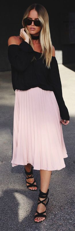 A blush pink pleated skirt + beautiful feminine style + Kristin Sundberg + graceful and elegant + skirt from Verge Girl + off the shoulder top + strappy sandals.   Skirt: Verge Girl, Top: Gina Tricot.