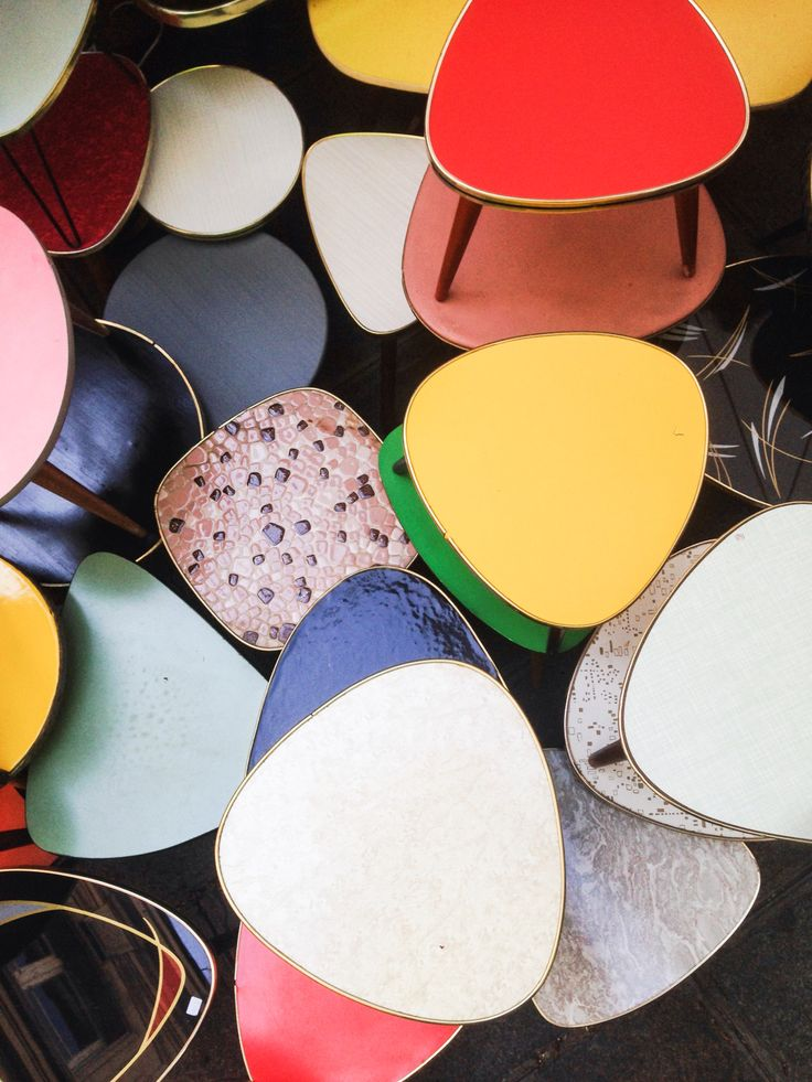 retro tables - same shape as a guitar pick! What if we used 100 or so guitar pics and created a decoupage art piece for the wall (in lots of bright colors)?