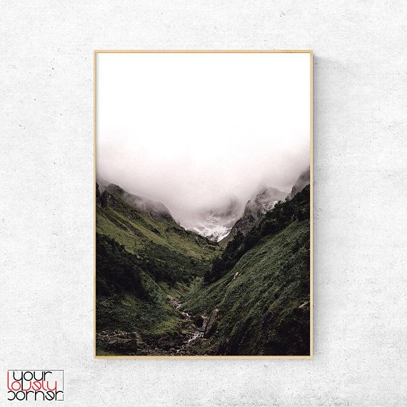 Mountain Print, Foggy Mountain Wall Art, Nature Poster, Landscape Print, Scandinavian Decor, Misty Mountains Poster, Modern Minimalist Art