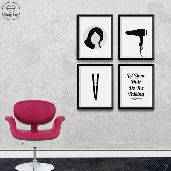 Hair Dryer Poster Print Stylist Gift Hair Dresser Beauty Salon Hair Styling