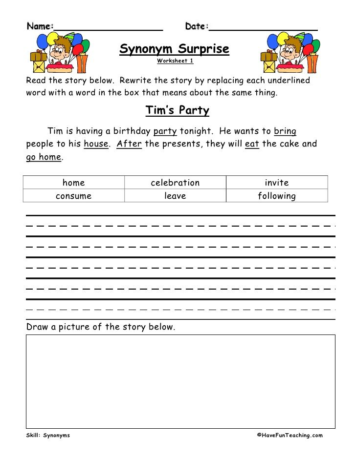 Synonym Surprise Worksheet 1Read the story below.