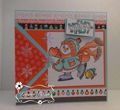 """ONECRAZYSTAMPER.COM: Ho Ho Ho by Sue using High Hopes Stamps """"Ho Ho Ho"""" (HH002UM) & """"Skating Snowlady"""" (TT012UM)"""