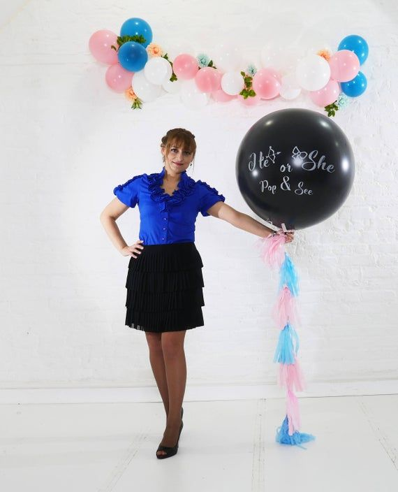 Gender Reveal Black Balloon He Or She Pop And See Blue Pink Etsy In 2021 Black Balloons Gender Reveal Balloons Pink Confetti